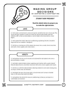 Comparing and Contrasting Activity: Decision Making