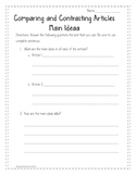 Comparing and Contrasting Articles Worksheet