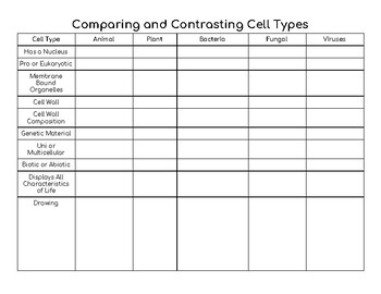 Comparing and Contrasting Cell Types
