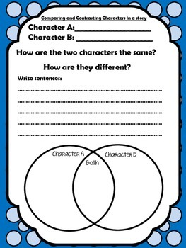Comparing and Contrasting Characters in a story Printable