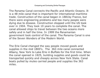 Comparing and Contrasting Panama and Erie Canals