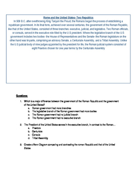 Comparing and Contrasting: Rome and the United States- Two Republics