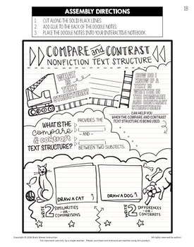 Comparing and Contrasting Text Structure - Doodle Notes / Interactive Notebook