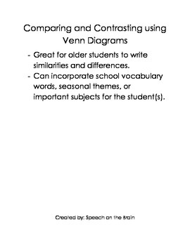 Comparing and Contrasting using Venn Diagrams