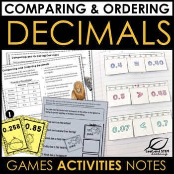 Comparing and Ordering Decimals Activities