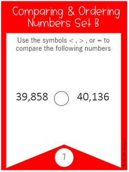 Comparing and Ordering Numbers Task Cards Set 2