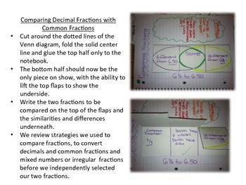 Comparing and Ordering Decimal Fractions Interactive Notebook Activities