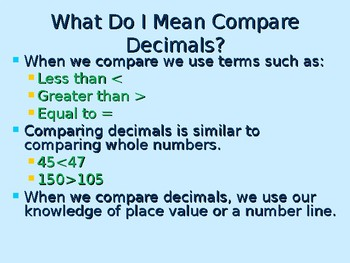 Comparing and Ordering Decimals
