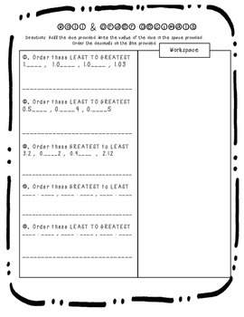 Comparing and Ordering Decimals Dice Activity