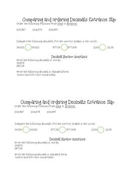 Comparing and Ordering Decimals Entrance Slip