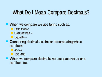 Comparing and Ordering Decimals PowerPoint