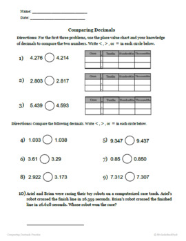 Comparing and Ordering Decimals - Printable Packet