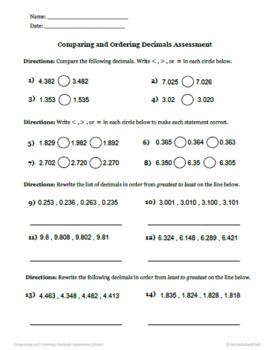 Comparing and Ordering Decimals Quiz