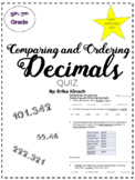 Comparing and Ordering Decimals Quiz and Answer Key