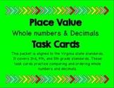 Comparing and Ordering Decimals Task Cards (VA SOL 5.2, 4.3)