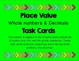 Comparing and Ordering Decimals Task Cards (VA SOL 5.2, 4.3)