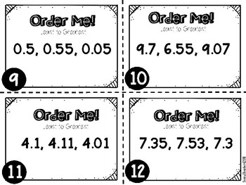 Comparing and Ordering Decimals Task Cards - 4th grade