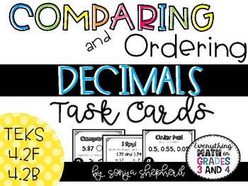 Comparing and Ordering Decimals Task Cards - TEKS 4.2F & 4.2B