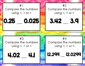 Comparing and Ordering Decimals Task Cards