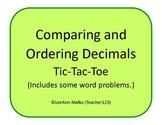 Decimals Tic-Tac-Toe - Comparing and Ordering Decimals