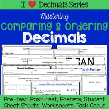 Comparing and Ordering Decimals Unit- Tests, Worksheets, Task Cards and more