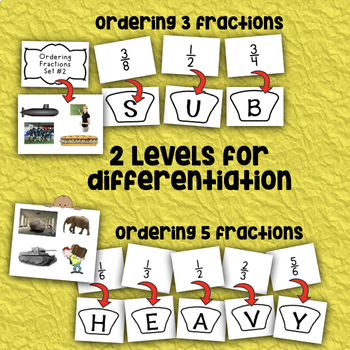 Ordering Fractions - What's the Word Style! - CCSS Math 4.NF.A.1