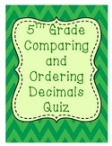 5th Grade Comparing and Ordering Decimals Quiz