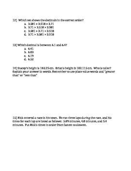 5th Grade Comparing and Ordering Decimals Quiz