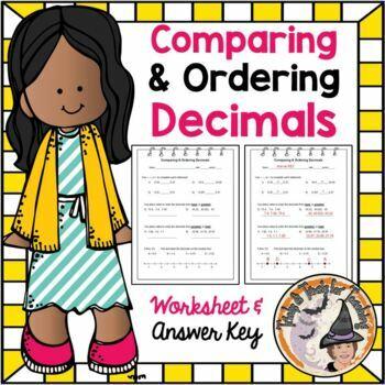 Comparing and Ordering Decimals Compare Order Decimal Worksheet