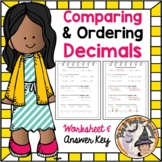 Comparing and Ordering Decimals Compare Order Decimal Place Value Worksheet