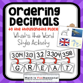 Comparing and Ordering Decimals to Thousandths - What's the Word Style Game!