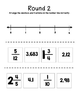 Comparing and Ordering Fraction and Decimals on a Number Line (VA SOL 5.2)