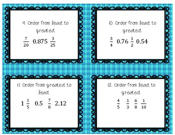 Comparing and Ordering Fractions, Decimals and Mixed Numbers Task Cards