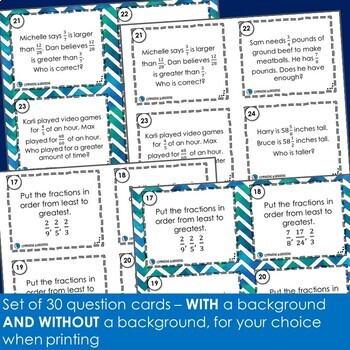Comparing Fractions Task Cards -Footloose Math Game & Exit Tickets