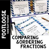 Comparing Fractions Task Cards -Footloose Math Game & Exit