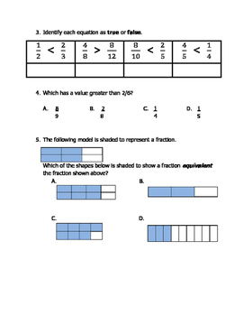Math VA SOL 4th Comparing and Ordering Fractions Fourth Grade