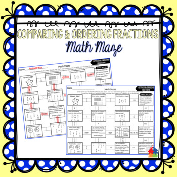 Comparing and Ordering Fractions Math Maze