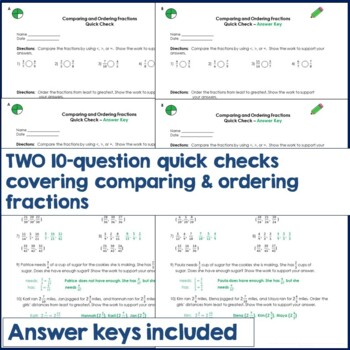 "Comparing and Ordering Fractions ""Quick Checks"" Assessments"