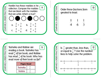 Comparing and Ordering Fractions: Task Cards