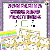 Comparing and Ordering Fractions Task Cards 3rd-4th Grade