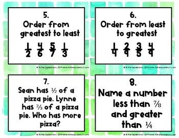 Comparing and Ordering Fractions Task Cards