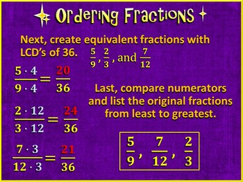 Comparing and Ordering Fractions Using the LCM (Bundled PowerPoint Only)