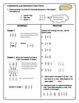comparing and ordering fractions worksheet by kathy hall  tpt comparing and ordering fractions worksheet