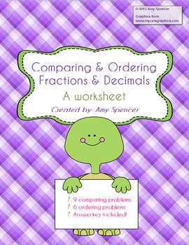 comparing and ordering fractions and decimals worksheet. Black Bedroom Furniture Sets. Home Design Ideas