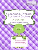 Comparing and Ordering Fractions and Decimals - worksheet