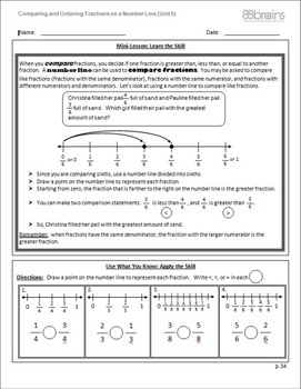 Comparing and Ordering Fractions on a Number Line pgs. 34-37 (CCSS)