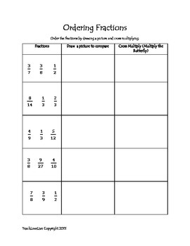 Comparing and Ordering Fractions practice