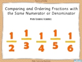 Comparing and Ordering Fractions with Like Numerators and Denominators