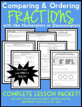 Comparing and Ordering Fractions with Like Numerators or Denominators