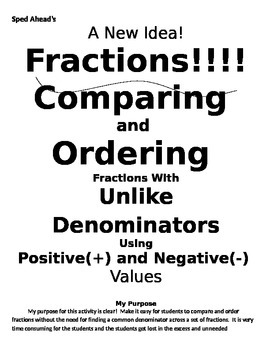 Comparing and Ordering Fractions with Unlike Denominators- A New Idea